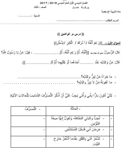 التربية الإسلامية أوراق عمل درسي بر الوالدين وأدب التلاوة و درس سورة العلق للصف الثالث ملفاتي