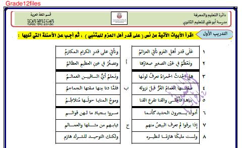 اللغة العربية ورقة عمل درس على قدر أهل العزم النصوص للصف الثاني عشر ملفاتي