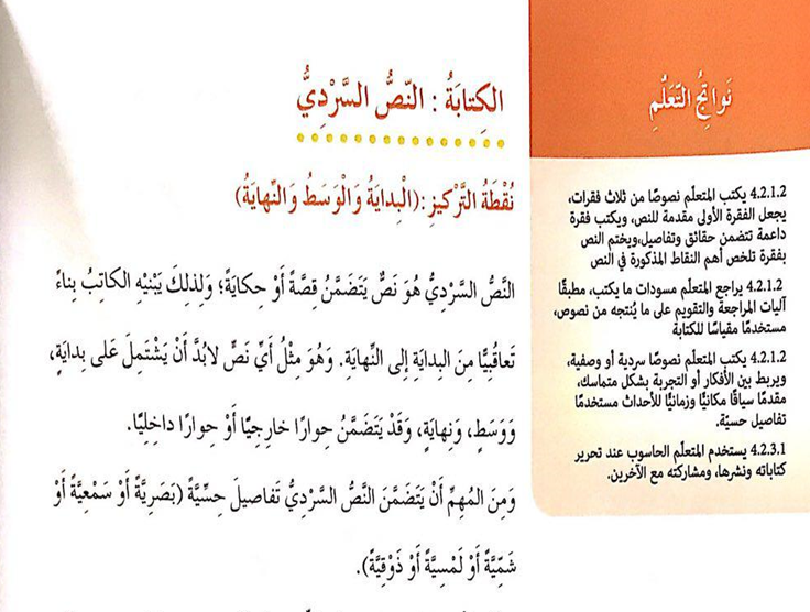 اللغة العربية بوربوينت درس الكتابة النص السردي للصف الرابع ملفاتي